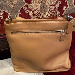 Camel Leather Coach Shoulder Bag